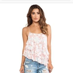 Free People Asymmetrical Floral Tiered Top